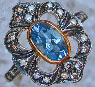 Goldringe 18kt 750 Gold Ring Diamant Aquamarinring Aquamarin Schmuck