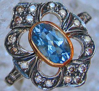 Goldringe 18kt 750 Gold Ring Diamant Aquamarinring Aquamarin Schmuck