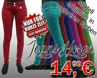 Damen Bunte Jeans Röhrenjeans Hose in Trendige Farben XS, S, M, L, XL