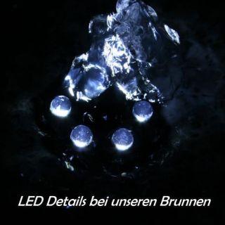 Granitbrunnen LINO LED beleuchtet Brunnen Schwarz Granit massiv mit
