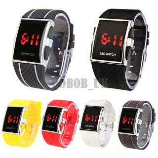 WHITE BLACK LED LUXURY DAY DATE DIGITAL MENS SOPRTS WATCH