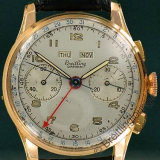 Breitling Uhr Datora 784 in 18 Kt Gold extrem seltene Herrenuhr aus