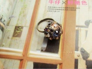 F4550 Colorful Crystal Ball Classical Antique Ring S6 9