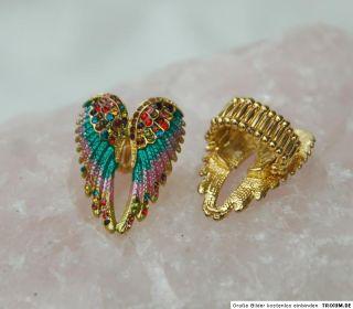 Engel/Angel Flügel gold bunt Strass ca4x3 cm wunderschön Ring