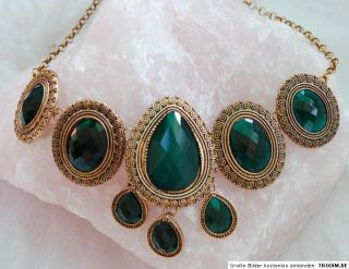 Kette Collier bunt gold Anhänger Amulett Ornamente Vintage antikes