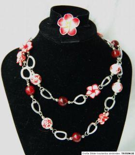 46 cm lange Hibiskus Kette 6 Blüten+bemalte Perlen rot