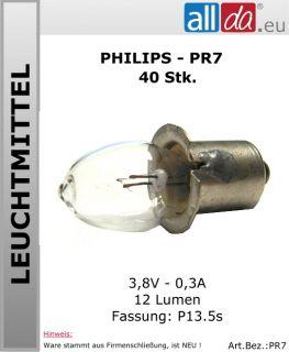 Glühbirne Philips Glühlampe Miniatur 3,8V 40Stk (PR7)