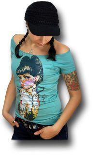 TATTOO Rockabilly Girl Pin Up Shirt Batcave Emo Punk   Türkis   RM801
