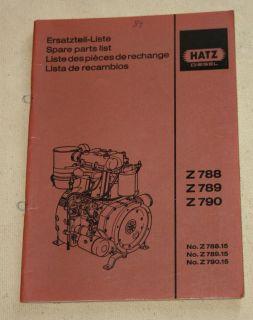 Ersatzteilliste HATZ Diesel Motor Z 788, Z 789, Z 790
