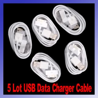 5x USB Data Sync Charger Cable Cord for Apple iPod Touch iPhone 4G 4S