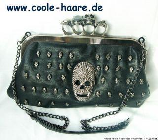 NEU Skull Totenkopf Schlagring Strass Handtasche Tasche exklusiv Griff