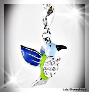 Vogel 3D Zirkonia Charm Anhänger Charms Bird Bettelarmband Silber 802