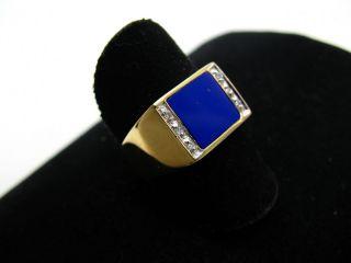 R825 585er 14kt Gelbgold Gold Ring mit großem großer Lapis Lazuli