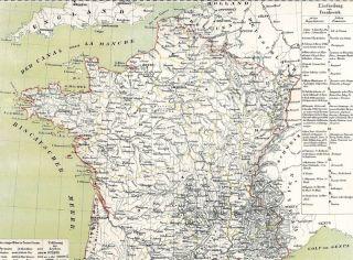 Antiquarische alte Landkarte FRANKREICH Carte Ancienne de France Karte