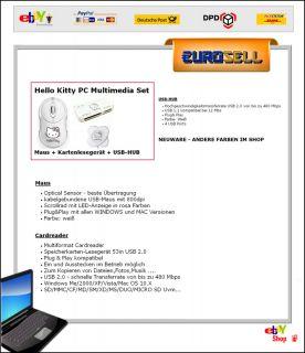 Hello Kitty PC Set  USB Maus + Cardreader + USB HUB Geschenk Computer
