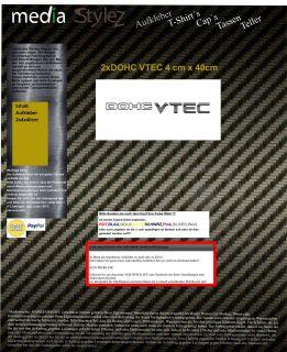 2x DOHC VTEC VTI Honda Auto Aufkleber Sticker JDM OEM DUB Decal Freie
