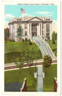 This is a linen postcard of the Orange County court House in Pawhuska