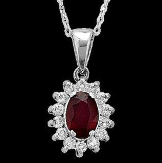 Brillant Diamant Kollier in 750er 18K Weissgold mit ovalen Rubinen