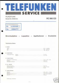Telefunken Original Service Manual für RC 880 CD