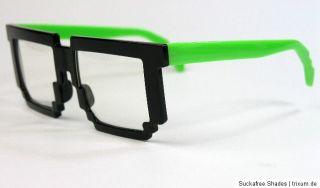 Nerd Brille Pixel Games 80er Jahre Retro 8 Bit Style Partybrille clear