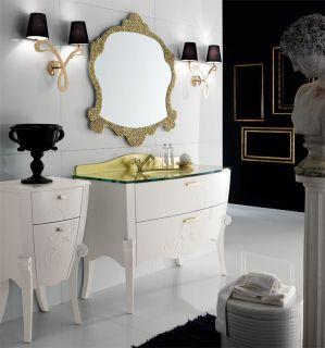 Luxus Badmöbel Set Margot Weiß Gold Furnier Klassische Italienische