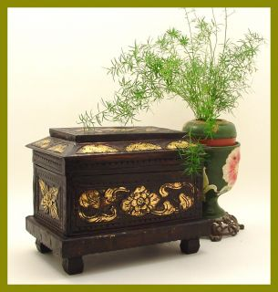 orientalische Truhe Gold Antik Kunst Schmuckkasten Holz geschnitzt