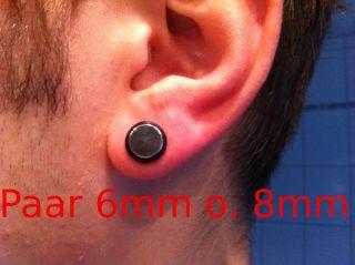 2x Fakeplugs 8mm 6mm   Edelstahl Silber   Tunnel Piercing Ohr Fake