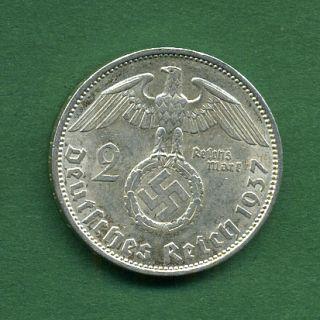 NC8 DRITTES REICH 2 REICHSMARK 1937 A BERLIN HINDENBURG Silber Silver