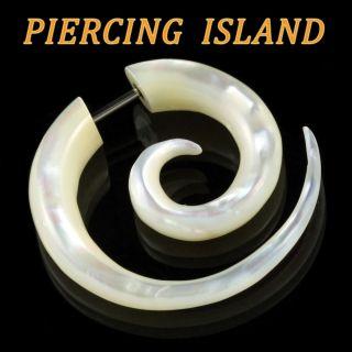 Ohrringe Spirale Fake Plug Piercing Perlmutt F107