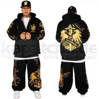 Hoodboyz Eagle Bandana Style Sweat Suit Schwarz Gold Jogging Anzug