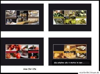 4x Motiv Platz Set Tisch Set Pure Life Pasta Tomate Käse Olive