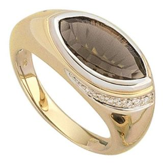 Goldring Ring mit Rauchquarz & Diamanten, 585 Gold, Fingerschmuck