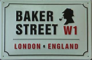 Sherlock Holmes Baker Street W1 London Blech Schild 20x30cm Adresse