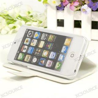PU Leder Tasche für apple iphone 5 wallet Case Etui Hülle weiß