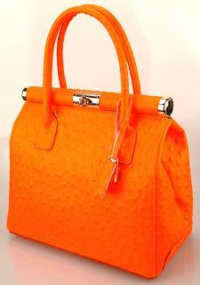 ital. Neu echt LEDER Tasche Kelly Bag orange neon Vintage Henkeltasche