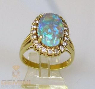 OPAL RING CRYSTALOPAL IN 18KT GOLD 585/  goldring crystal opal