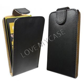 Nokia Lumia 920 / Stylish PU Leather Flip Case / BLACK / NEW