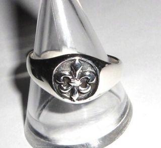 925 Silber Damen + Herren Ring französische Lilie Fleur de Lys Ring