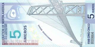Federation of North America   5 Ameros   Polymer (922) UNC
