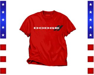 Dodge Red New Logo Black Stripes T Shirt