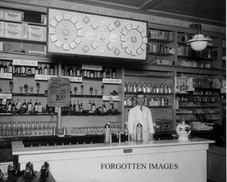DRUG STORE ICE CREAM SODA FOUNTAIN 1910s PHOTOGRAPH