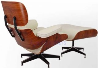 Apex Lounge Chair and Ottoman Leather Black White Brown Cream Charles