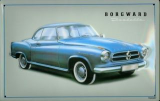 Borgward Isabella Auto Car Reklame Blech Schild Werbung Metal