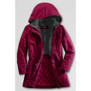 LANDS END Damen Thermo Parka Kapuzenjacke Winterjacke rot