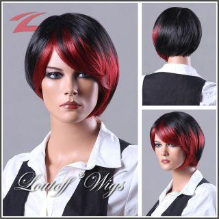 NEU Perücke wig Haar schwarz+rot kurz glatt F964A 1BH39
