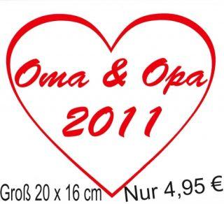 Auto Aufkleber Oma und Opa 2011 in Wunschfarbe A1656 A5