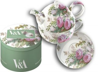 Brompton Rose FINE CHINA Tea For One TEAPOT CUP & SAUCER Victoria