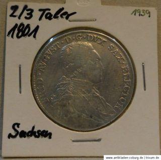 Sachsen 2/3 Taler 1801 Friedrich August Silber Silver Speziestaler