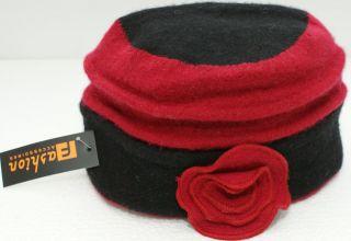 Damenfilzhut, schwarz/rot, neu, reine Wolle
