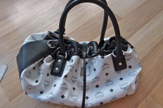 MCM Visetos Bag Tasche Sac Basic Vintage Drawstring medium weiss